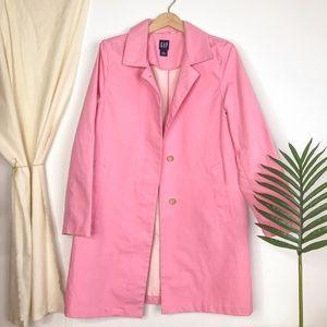 90s Y2K GAP Bubblegum Pink Trench Coat Jacket